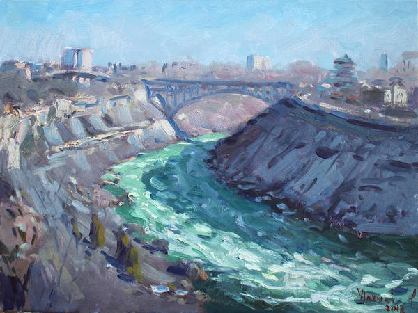 Usa Painting - At Niagara Gorge by Ylli Haruni