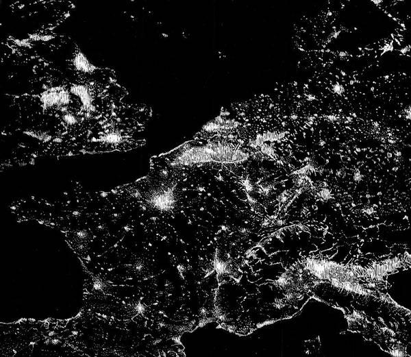 Drawing - At Night Everybody Sleeps  Europe At Night by Sophie Mildner
