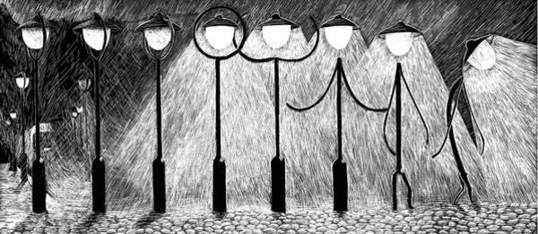 Drawing - At Night Everybody Sleeps  by Sophie Mildner