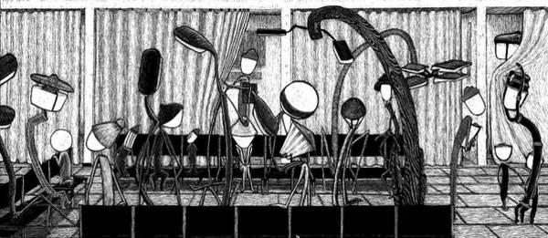 Drawing - At Night Everybody Sleeps  Waiting Room by Sophie Mildner