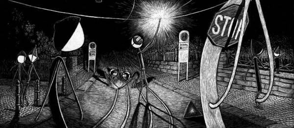 Drawing - At Night Everybody Sleeps  Way To Work by Sophie Mildner