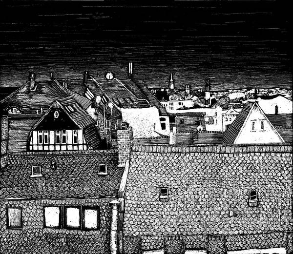 Drawing - At Night Everybody Sleeps Above The Roofs by Sophie Mildner