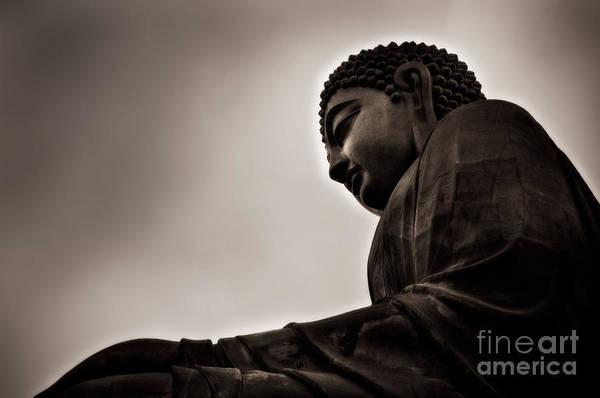 Giant Buddha Photograph - At Peace by Venetta Archer