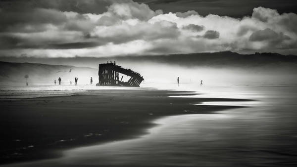 Oregon Sand Dunes Photograph - At Peter Iredale Shipwreck Mono by Eduard Moldoveanu