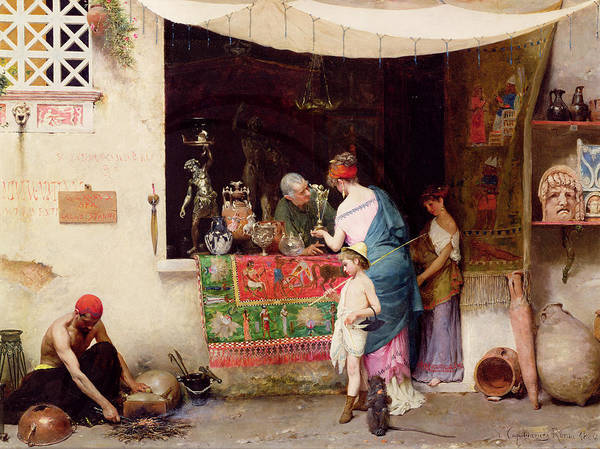 Trader Painting - At The Antiquarian by Vitorio Capobianchi
