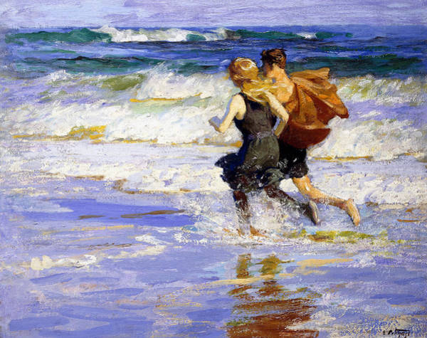 Jogging Painting - At The Beach by Edward Henry Potthast