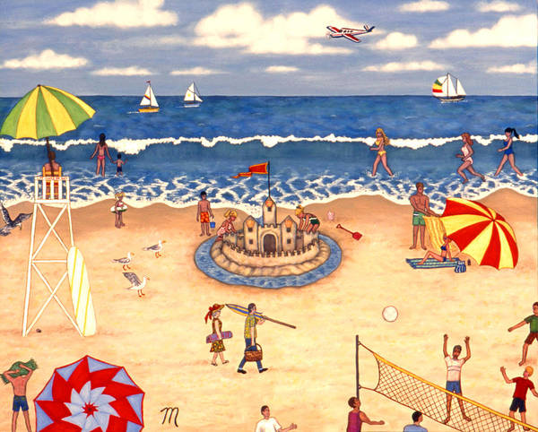 Volley Painting - At The Beach by Linda Mears
