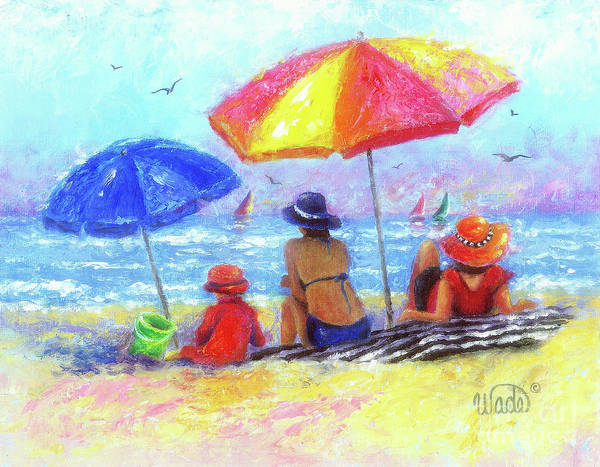 Wall Art - Painting - At The Beach With Mom And Grandma by Vickie Wade