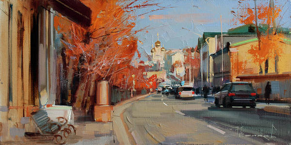 Boulevard Painting - At The Cafe De Marco. Petrovsky Boulevard by Alexey Shalaev