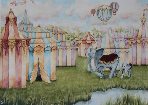 Wall Art - Painting - At The Circus by Camille Singer
