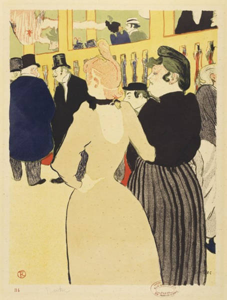 Screenprinting Painting - At The Club By Henri Toulouse-lautrec by Vintage Images