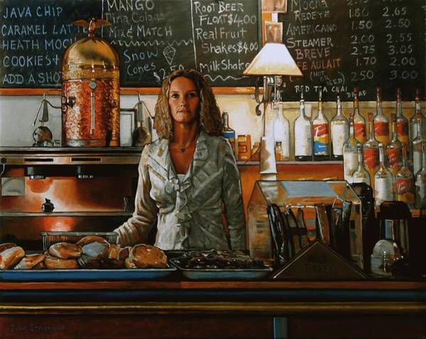 Wall Art - Painting - At The Coffee Mill by Doug Strickland
