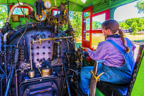 Wall Art - Photograph - At The Controls Of Steam Engine No 3 by Garry Gay