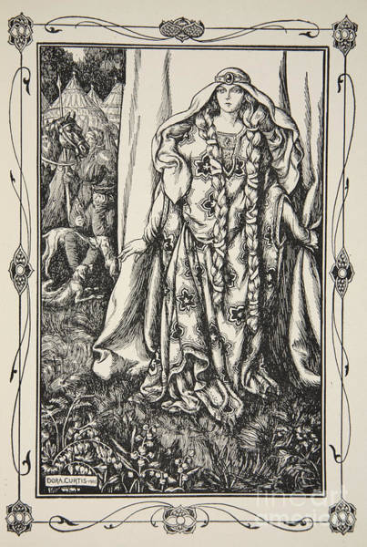Wall Art - Drawing - At The Door Of One Stood A Lady by Dora Curtis