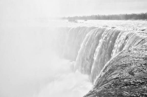 Photograph - At The Edge Of Horseshoe Falls In Black And White by Bill Cannon
