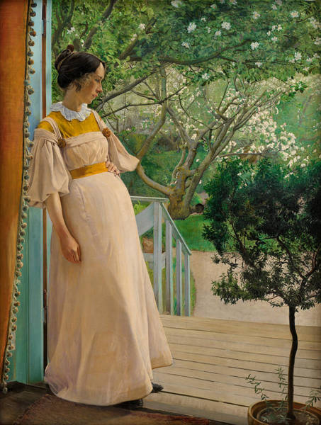 Laurits Andersen Ring Painting - At The French Windows - The Wife Of The Artist by Laurits Andersen Ring