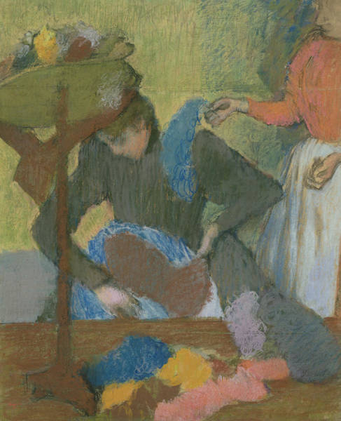 1834 Wall Art - Pastel - At The Hat Maker by Edgar Degas