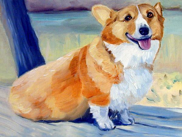 Wall Art - Painting - At The Lake Pembroke Welsh Corgi by Lyn Cook
