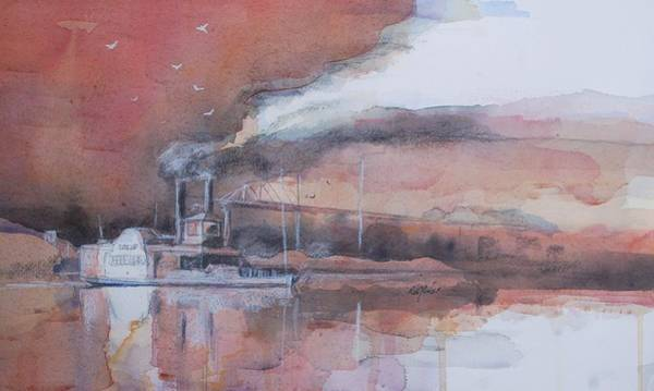 Riverboat Painting - At The Landing by Robert Yonke