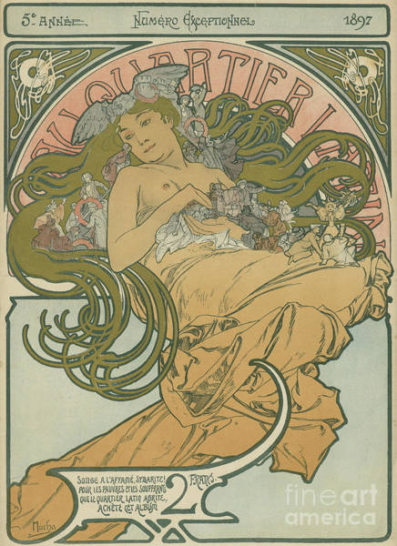 Wall Art - Painting - At The Latin Quarter  by Alphonse Marie Mucha