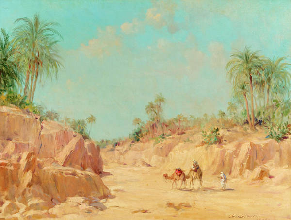 Camel Painting - At The Oasis by Constant Georges Gaste