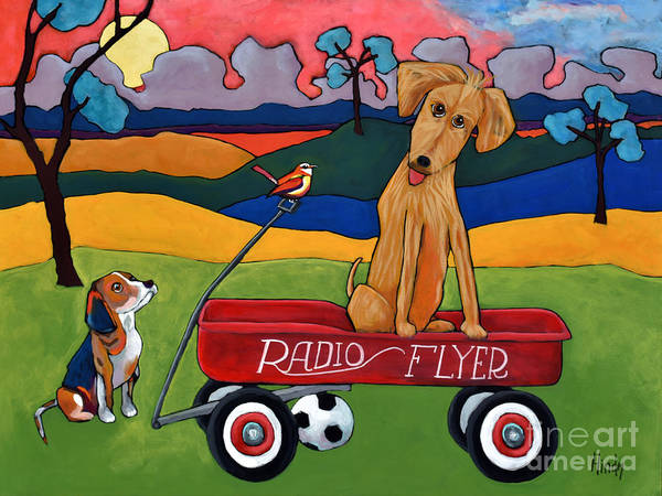 Red Wagon Painting - At The Park by David Hinds