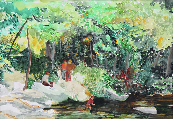 Wall Art - Painting - At The Park by Janice Buehring