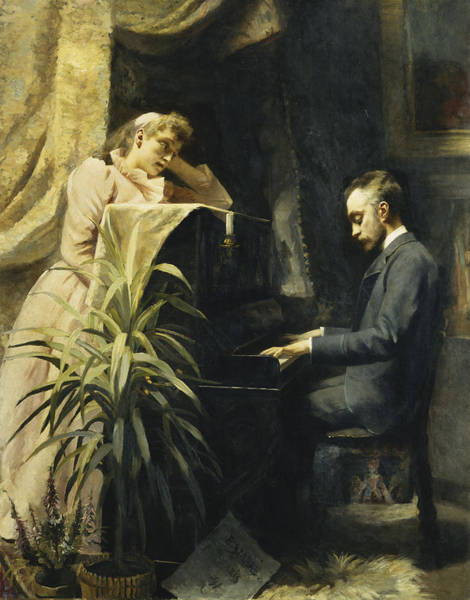 Piano Key Painting - At The Piano by Emma Sparre
