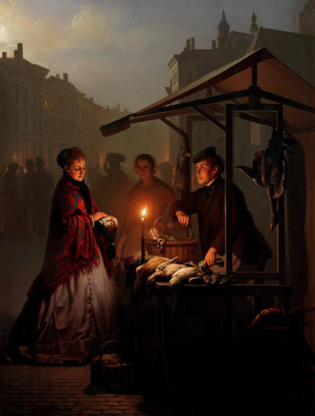 Avenue Painting - At The Poultry Stall On The Groenmarkt, The Hague by Petrus van Schendel