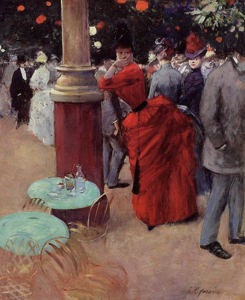 Parisian Cafe Painting - At The Public Garden by Jean Louis Forain