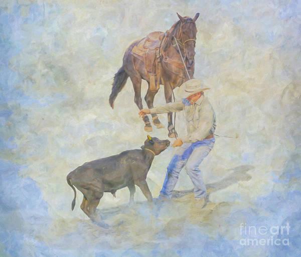 Bucking Bronco Digital Art - At The Rodeo Calf Roping by Randy Steele