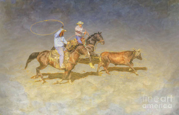 Bucking Bronco Digital Art - At The Rodeo Team Calf Roping by Randy Steele