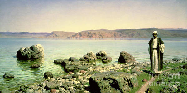 Coast Line Painting - At The Sea Of Galilee by Vasilij Dmitrievich Polenov