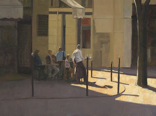 Parisian Cafe Painting - At The Street Cafe by Tate Hamilton