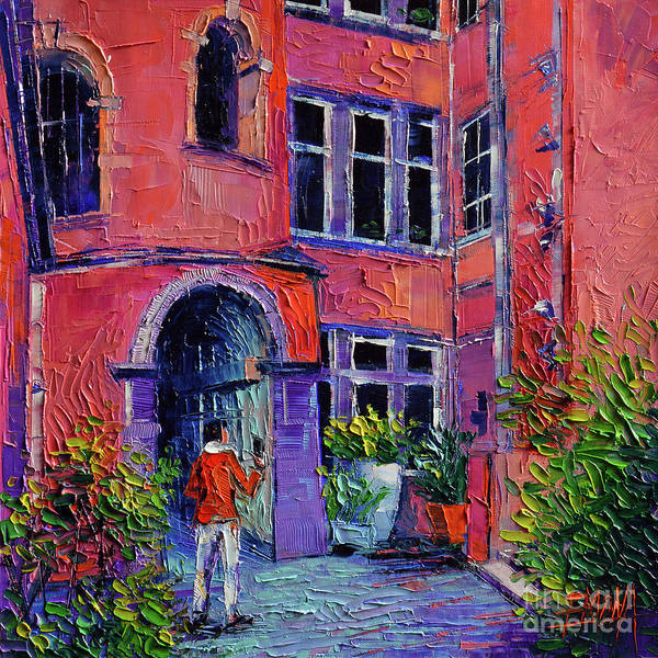 Wall Art - Painting - At The Tour Rose - Lyon France by Mona Edulesco