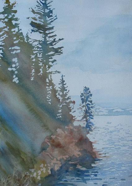 Evergreen Trees Wall Art - Painting - At The Water's Edge by Jenny Armitage
