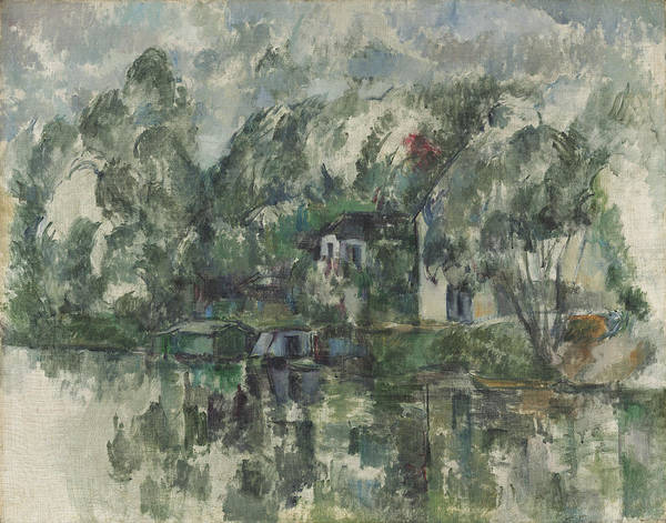Wall Art - Painting - At The Waters Edge by Paul Cezanne