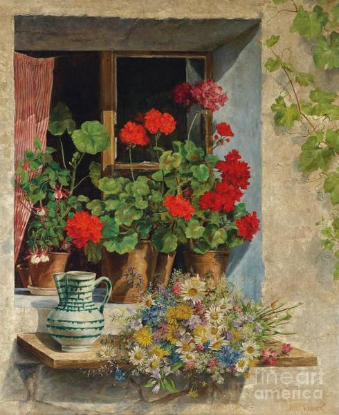 Paula Wall Art - Painting - At The Window by Celestial Images