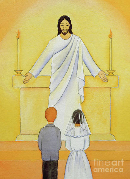 Communion Painting - At Their First Holy Communion Children Meet Jesus In The Holy Eucharist by Elizabeth Wang