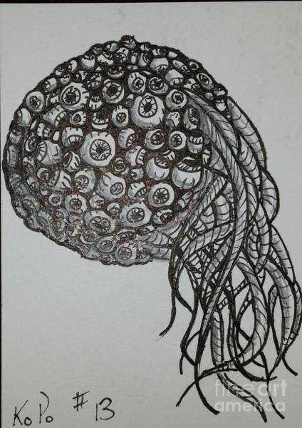 Nerves Drawing - Atc 13 by Kitty Perkins