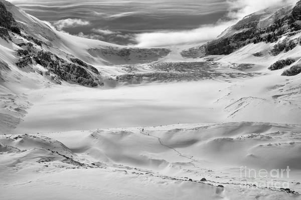 Photograph - Athabasca Glacier Winter Blues Black And White by Adam Jewell