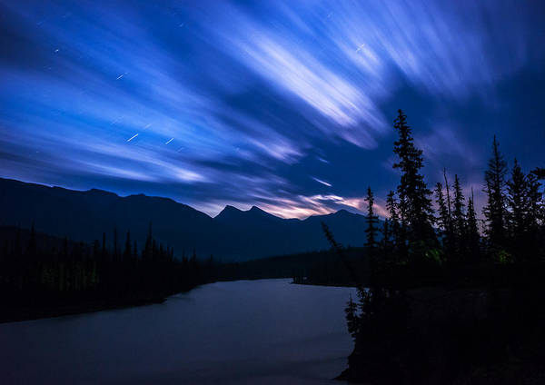 Wall Art - Photograph - Athabasca River Moonrise Long Exposure by Cale Best