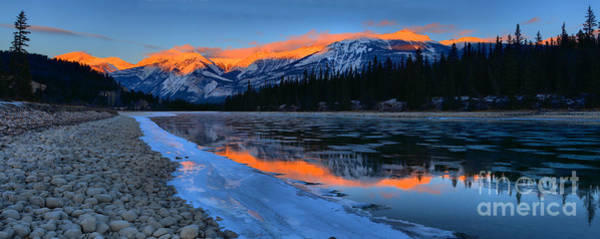 Photograph - Athabasca River Sunset Reflections Panorama by Adam Jewell