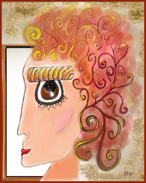 Art Print featuring the digital art Athena In The Mirror by Teresa Epps