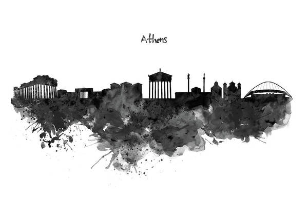 Greece Painting - Athens Black And White Skyline by Marian Voicu
