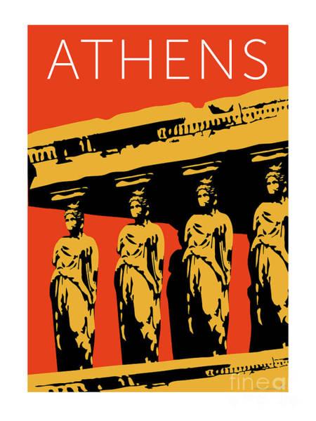 Digital Art - Athens Erechtheum Orange by Sam Brennan