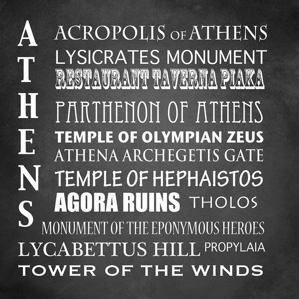 Wall Art - Digital Art - Athens Famous Landmarks by Patricia Lintner