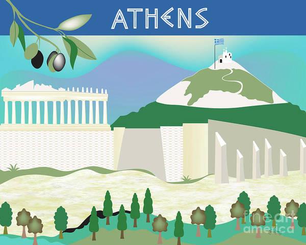 Mounted Digital Art - Athens Greece Horizontal Scene by Karen Young