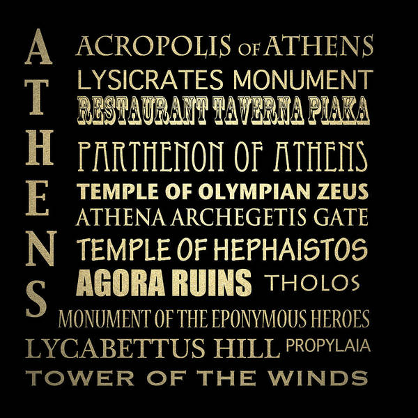 Wall Art - Digital Art - Athens Greece Famous Landmarks by Patricia Lintner