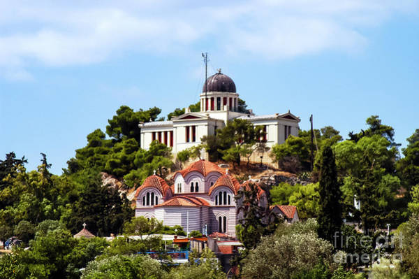 Agia Marina Photograph - Athens National Observatory And Agia Marina Church by Bob Phillips